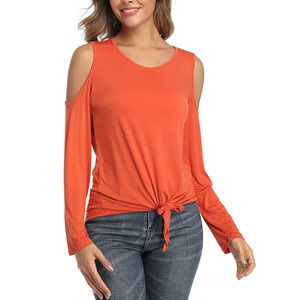 Small Orange Casual Comfy Long Sleeve Blouse Top